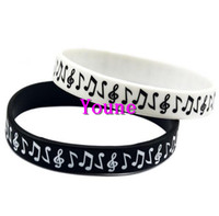 Wholesale Hot Bracelet Glow - Free Shipping 50PC New Design Classi Logo Music Note Silicone Wristband Bracelet for Student Black White Hot!
