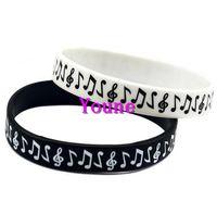 ingrosso bracciali logo-Trasporto libero 50PC nuovo design Classi Logo Music Note Silicone Wristband Braccialetto per Studente Nero / Bianco Caldo!