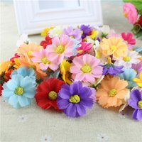 Display Flower blue chrysanthemums - Artificial flowers silk heads small real touch daisy silk flowers chrysanthemum sunflowers flowers for Wedding patry decoration P C