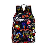 sevimli sırt çantaları kadınlar toptan satış-Rock Grubu Beatles / Acdc / Demir Kızlık Sırt Çantaları Erkek Kız Sırt Çantası Okul Çantaları Genç Kadınlar Için Erkekler Için Sevimli Sırt Çantası