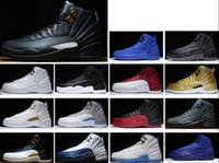 Wholesale French Fabric Designs - Ship Box 2017 New Design Retro 12 Basketball Shoes Men OVO White Wolf Grey Cherry Flu Game French Blue Top Quality Retro Sneaker