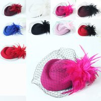 Wholesale Dress Hat Red Feathers - 9 Colors Bridal Cage Veil Fascinator Fashion Hats Wedding Guest Hair Accessories Bridal Hats Party Dress Hats
