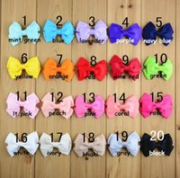 Wholesale Small Ribbon Bow For Hair - 7.5x5cm Grosgrain Ribbon Baby Boutique Small Size Hair Bows WITH CLIP for Children Hair Accessories 20 Colors