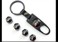 audi a3 keys NZ - Car Styling SEAT Emblem Key Ring & Valve Caps Set Car Styling for AUDI S A4 A3 A6 Q7 Q5 A5 A8 Q3 A7 R8 RS Accessories Keychain High Quality