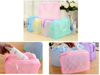 Transparente Impermeável Floral Print Maquiagem Sacos Travel Cosmetic Bags Case Toiletry Wash Bathing Pouch 5 cores Cheap Price DHL shipping