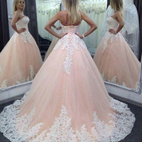 Wholesale China Dress Pattern - 2017 Elegant Ball Gown Long Evening Dresses Tulle Lace Appliques Sweetheart Lace-up Back Formal Evening Gowns Dresses Wear China