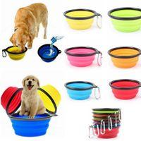 Wholesale Pet Expandable Bowl - Silicone Folding dog bowl Expandable Cup Dish for Pet feeder food Feeding Portable Travel Bowl Feeding Bowl with Carabiner 6 color KKA2154