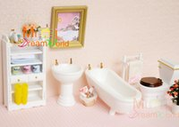 Wholesale Miniature Furniture Bathroom - G05-X4420 children baby gift Toy 1:12 Dollhouse mini Furniture Miniature rement-white color bathroom 6pcs set