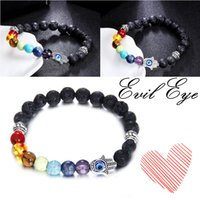 Wholesale Evil Eye Hamsa Beaded Bracelet - 8mm 7 Chakras Hamsa Evil Eye Meditation Yoga Reiki Healing Balancing Round Beads Bracelet Protection Energy Healing Charm Jewelry B361S