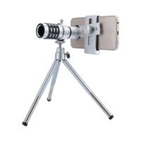 cámaras de zoom óptico móviles al por mayor-Lente de la cámara del telescopio Zoom óptico de 12X Sin esquinas oscuras Trípode del telescopio del teléfono móvil para iPhone 6 7 Teleobjetivo para teléfono inteligente Samsung
