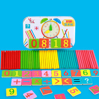 Wholesale Wooden Math Sticks - Montessori Baby Toy Magnetic Iron Box Counting Stick Wooden Toys Educational Arithmetic Rods Clock Math Game SticksToys Child Birthday Gift
