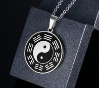 Нержавеющая сталь Yin Yang Circle Metal Tag Подвеска ожерелье Китай Tai Chi Bagua Pendant Lucky Security and Peace Jewelry
