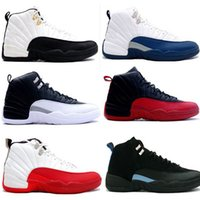 Wholesale French Lace Rose - 2016 air retro 12 man basketball shoes ovo white flu game wool gym cherry red GS Barons black nylon french blue TAXI sneakers