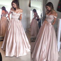Wholesale Modern Baby Formal Gowns - Hot Sale 2017 Baby Pink Off The Shoulder Prom Dresses Long Cheap Sexy Beaded Sash With Pocakets Formal Party Evening Gowns Custom EN4197