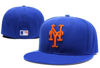 Wholesale Dome Full - Wholesale and retail 5 color -Men's full Closed New York Mets fitted hat sport team NY 2 tone on field baseball cap Fashion hip hop cap
