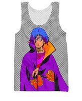 Wholesale Itachi Shirt - Wholesale- Men Women Harajuku Tee Shirt Hipster Lattice Tank Tops Anime Naruto t shirts Itachi Tank Top Tees