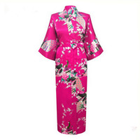 vestidos de casamento japoneses venda por atacado-Atacado-Hot Pink Japanese Flower Kimono vestido de ganga Sexy Lingerie Bathrobe longo Sleepwear Sauna Traje de casamento Robe Plus Size NR019