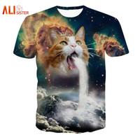 Wholesale Space Tee Cat - Solar Kitten T-Shirt Cat Vomiting A Waterfall Onto Earth Vibrant 3d Cat Tee Shirt Galaxy Nebula Space T Shirt Tops For Women Men 17310