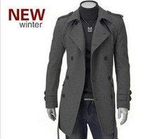 mens wolljacke erbsenmantel großhandel-Großhandels- Mens-klassische beiläufige Wolljacken-Erbsen-Mantel-Winter-warmer Graben-Mantel Outwear zweireihiger woolen Mantel Mens