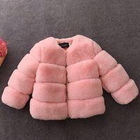 Wholesale Kids Fur Coat Girls Gray - Girl fur Coat Jackets 2-10Year Kids Girls Faux Fur Coats 2018 Spring Winter Infant Princess Warm Coat Outwear Children Clothing D218