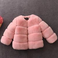 çocuklar sahte kürk giysileri toptan satış-Kız kürk Ceketler 2-10Year Çocuk Kız Faux Kürk Palto 2018 Bahar Kış Bebek Prenses Sıcak Ceket Dış Giyim Çocuk Giyim D218