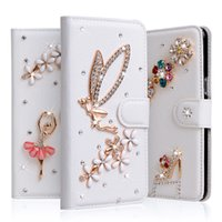 Wholesale Iphone 4s Flip Bling Cover - For iPhone 7 6 6S Plus 5S 4S Flip Stand Wallet Leather Case With Phone Cover crown rhinestone flower butterfly Wallet style bling
