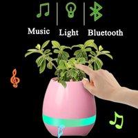 Wholesale Blue Flowerpot - Creative Smart Bluetooth Speaker Music Flower Pot Bluetooth Speaker Office Mini Colorful LED light Touch Piano Induction Flowerpot