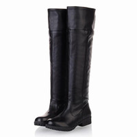 Wholesale Long Sexy High Heel Boots - Wholesale- New 2016 Spring Autumn Women Boots Sexy Women Shoes Long Boot Knee High Woman Ladies Flat Heel Zapatos Mujer Botas
