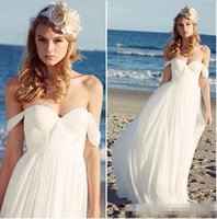 Wholesale Empire Belt Gown Chiffon Train - Romantic Chiffon Beach Wedding Dresses Pleated Off The Shoulder 2017 Summer Long Bridal Dresses Bohemian Boho Wedding Gowns With Beaded Belt
