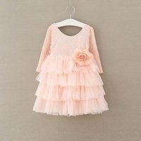 Wholesale Ruffles Clips - 2017 Autumn Girls Princess Dresses Flower Pin Clip Long Sleeve Beach Wedding Party Dresses Tiered Tulle Dress 2-7Y E13836