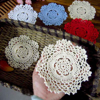 Wholesale Cotton Lace Coaster - DHL Handmade Crochet Lace Pattern Crocheted Cotton Doilies Cup Pad Mats Table Cloth Coasters Round Dial 14cm Custom Colors