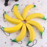 Wholesale photographic prop wholesalers online - 2 sh Squishy Simulation Banana Pendant cm Slow Rising Squishies Squeeze Toys Fruits Model Photographic Props Child Toy Hot Sale