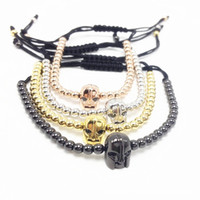 Wholesale 4mm Steel Mens Chains - Men Bracelet 4mm Titanium Steel Beads Bracelets Mens Woman Braiding Micro Paved Zircon Warrior Helmet Bracelets & Bangles