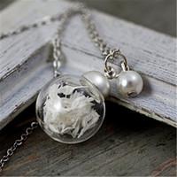 winzige blumen großhandel-10pcs MINI echte Blumenkette - gefüllt mit echten getrockneten Baby Atem und befestigte weiße Perle. Winzige zarte Halskette für sie