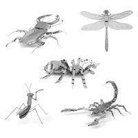 Wholesale 3d Insect Toys - Wholesale- Mini Fun 3D animal insect Mantis Scorpion Stag Beetle Dragonfly Metal Puzzle Adult Models Educational Toy CX880101