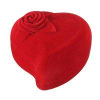 caixas de anel de rosa de veludo venda por atacado-Caixa de Anel de Veludo Vermelho Forma Anel de Noivado Caixas de Jóias de Casamento Rosa Flor Presentes de Design Titular para o Amante