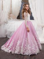 meninas lilás flor vestido venda por atacado-2017 Vestidos Novos Flor Meninas Para Casamentos Jewel Neck Branco Appliques Lilac Sweep Train Crianças Comunhão Girl Pageant Vestidos