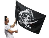 Wholesale Banner Factories - Black Skull Banner 90*150cm 3*5ft Polyester Fiber No 4 Black Flag For Bar Haunted House KTV Decorate Jolly Roger Factory Direct 4 8qt