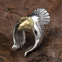 Wholesale Tops Steel Eagle - Newest Style Polishing Silver and Gold Biker Eagle Ring Top Quality 316L Brass Cool Mens Ring