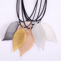 Wholesale Wholesale Real Leaf Pendants - Natural Real Leaf Dipped Long Leaf Pendants Necklace for Women Gold Plated Handmade DIY Stray Leaves Necklaces