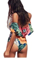 Wholesale Sexy Thong Swim Wear - Sexy Floral Off Shoulder Swim Wear Lady High Cut Bathing Suit Ruffle Plus Size Monokini Thong Swimwear Women One Piece Swimsuit