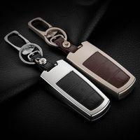 Wholesale New Vw Golf Cover Case - High-grade Zinc alloy+Leather Car Key Case For VW Golf Jetta Passat Tiguan Touran Magotan New CC Car Key Chain Protected Covers