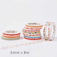 Wholesale Free Duct Tape - Wholesale- 2016 8m*5mm DIY Cute Kawaii Wave Decorative Washitape Scrapbooking Duct Tape For Decoration Photo Album Free Shipping 3626