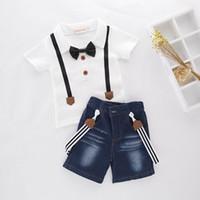 Wholesale Boys Denim Short Sets - Retail Boy Clothing Sets White Short Sleeve Tshirts+Denim Suspender Shorts Two Piece Summer Fashion Sets Children Clothes E17990