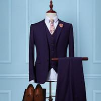 Wholesale Men Coats Checked - Slim Fit Suits Men Notch Lapel Business Wedding Groom Leisure Tuxedo 2017 Latest Coat Pant Designs S-4XL