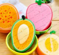Wholesale Cute Fruit Shape Microfiber Sponge Scouring Pad Cleaning Cloth Strong Remove Stains Thickened Sponge Kitchen Tools MYY