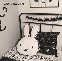 Wholesale column decor - Wholesale- 60*40cm cartoon baby pillow cotton baby kids room decoration rabbit children room decor pillow newborn baby photography props