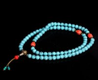 China Colecionáveis ​​Handwork Turquesa Beeswax Toyed Prayer Bead Necklace hh884