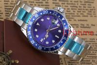 mavi dalış saati otomatik toptan satış-Lüks Yeni Gent'in GMT II 2 Otomatik Mekanik Kendinden Rüzgar Saatler Paslanmaz Çelik Dalış mavi Siyah Gümüş Master 40mm Mens Watch kol