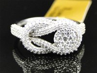 Wholesale Black Diamond Lady Rings - 10k White Gold Ladies Diamond Infinity Cluster Engagement Wedding Band Ring 1Ct
